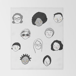 Women's faces Throw Blanket