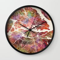 stockholm Wall Clocks featuring Stockholm by MapMapMaps.Watercolors