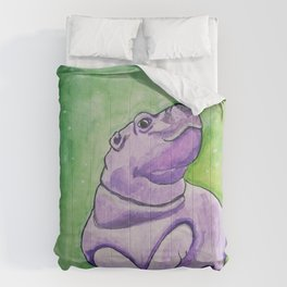 Baby Hippo Watercolor Comforters