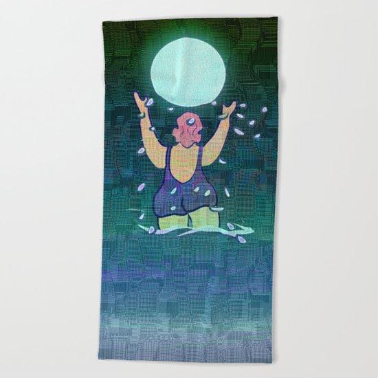 Bathing somewhere under the Moon Beach Towel