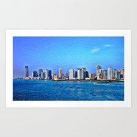 new york skyline Art Prints featuring New York  Skyline   by Judy Palkimas