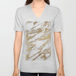 Chic Elegant White and Gold Marble Pattern Unisex V-Neck