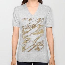 Chic Elegant White and Gold Marble Pattern Unisex V-Neck