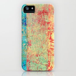 Brilliant Encounter, Abstract Art Turquoise Red iPhone Case