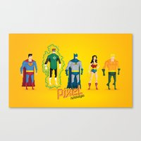 justice league Canvas Prints featuring Justice League of America - Pixel Nostalgia by Boo! Studio