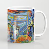broadway Mugs featuring Broadway in the Rain by Synesthesia Artist Dillon James