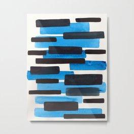 Deep Blue Primitive Stripes Mid Century Modern Minimalist Watercolor Gouache Painting Colorful Strip Metal Print