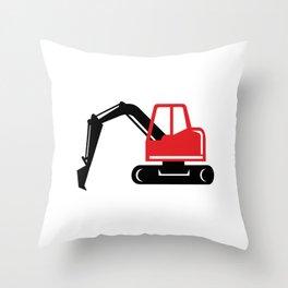 Mechanical Excavator Digger Retro Icon Throw Pillow