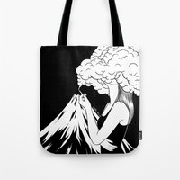 Tote Bags featuring Head in the Clouds by Henn Kim