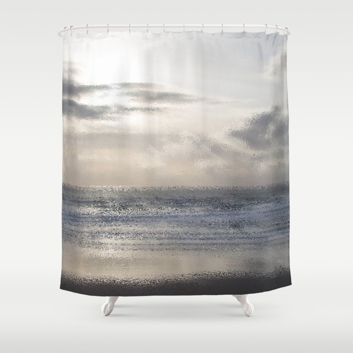 Silver Scene Ocean Ripple Effect Shower Curtain By Nancyjcreates