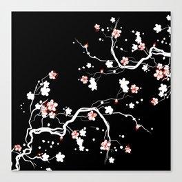 Black Cherry Blossom Canvas Print