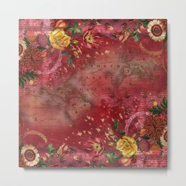 Vintge Cartography World Map wth Red Flora Arrangements Metal Print