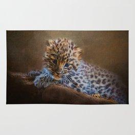 Cute painting amur leopard cub Rug