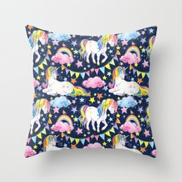 Unicorns, Rainbows & Stars Throw Pillow