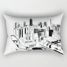 New York Black and White Rectangular Pillow