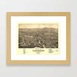 Vintage Pictorial Map of Laconia NH (1883) Framed Art Print