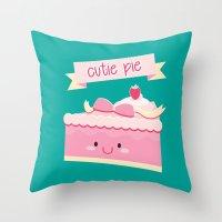 pie Throw Pillows featuring Cute pie by Alice Wieckowska