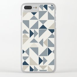 Blue Beige Abstract Striped Triangles Clear iPhone Case