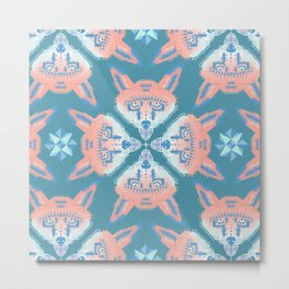 Pastel Fox Pattern Metal Print