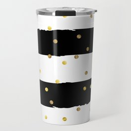 Black and white grunge striped background with Gold confetti Travel Mug