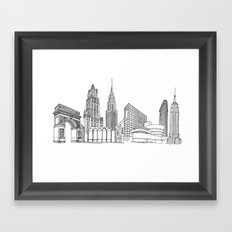 NYC Landmarks by the Downtown Doodler Framed Art Print
