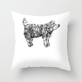 Steampunk Pig with Goggles Gears Corset Throw Pillow