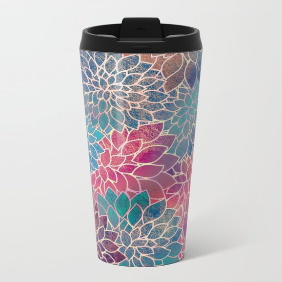 Floral Abstract 8 Metal Travel Mug
