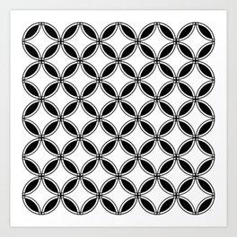 Large White Geometric Circles Interlocking on Black Background Art Print