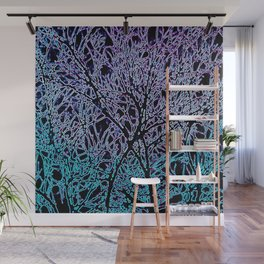Tangled Tree Branches in Blue and Teal Wall Mural