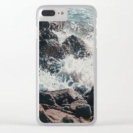 Splashing Waves on Rocks 01 Clear iPhone Case