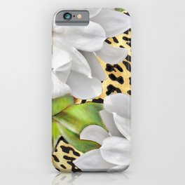 Magnolias on a Leopard Skin Pattern iPhone Case
