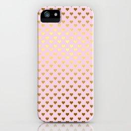Princesslike - pink and gold elegant heart ornament pattern iPhone Case