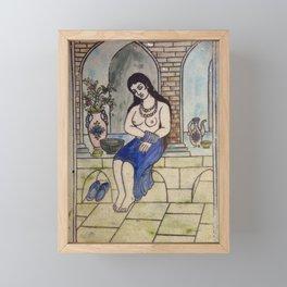 Taking Bath Tile Framed Mini Art Print
