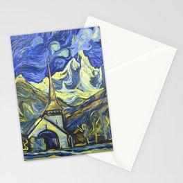 Les Praz church in Chamonix oil painting Stationery Cards