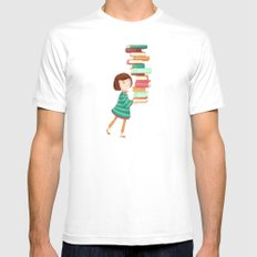 Library Girl 3 White MEDIUM Mens Fitted Tee