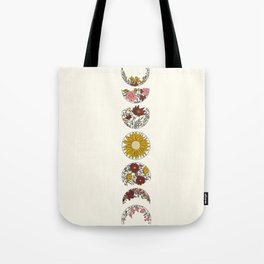 Floral Phases of the Moon Tote Bag