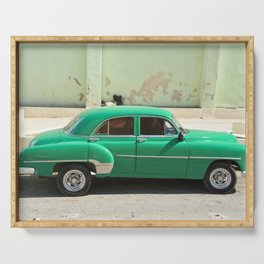 Vintage Car Havana Cuba Green Old Automobile American Classic Latin America Tropical Caribbean Serving Tray