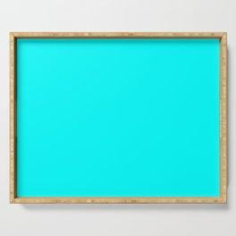 Solid Cyan Aqua Color Serving Tray