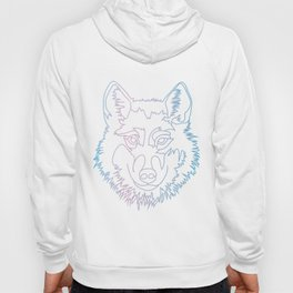 Vector wolf in one line Hoody