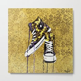 Animal Print Tennis Shoes Take a Walk On The Wild Side Metal Print
