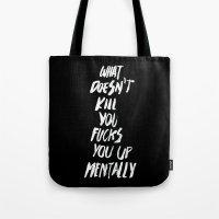 onesie Tote Bags featuring Mentally, alternative by WRDBNR