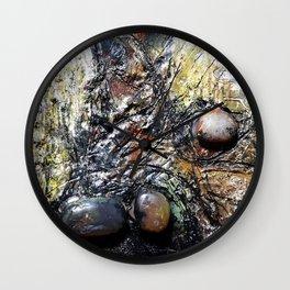 Metallic Melodrama I - Mixed Media Beeswax Encaustic Acrylic Abstract Modern Fine Art, 2015 Wall Clock