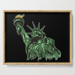 Rotting Statue of Liberty | Anti Government Serving Tray