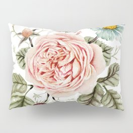 Rose and Foxglove Watercolor Florals Pillow Sham