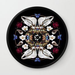 Horse Skulls And Deaths Head Moths Mandala Wall Clock