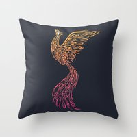 phoenix Throw Pillows featuring Phoenix by Freeminds
