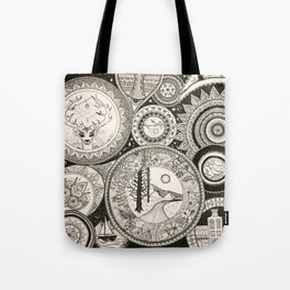 Ink Pen Collage Tote Bag