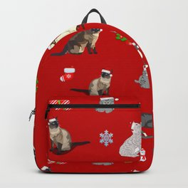Christmas cats pattern decor. Backpack
