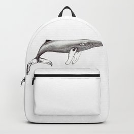Humpback whale black and white ink ocean decor Backpack