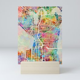 Seattle Washington Street Map Mini Art Print